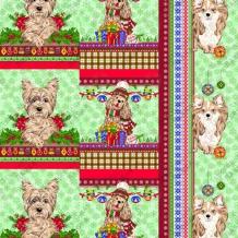 Вафельная -универсал В16 (0711/2) Новогодние собаки зеленый, ширина 150см