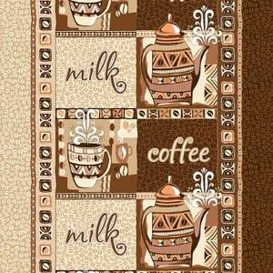 Полотно вафельное набивное Кофе ширина 50см