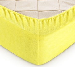 Простыня махровая на резинке 180*200*30 цвет лимонный