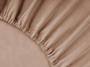 3963-БЧ простыня на резинке 200*160*25 гладкокрашеный сатин цв. какао 1513-09