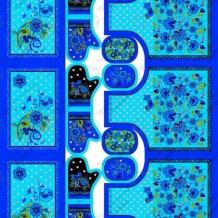 Рогожка набивная О17 рис. 4751/2 Набор Хохлома синий, ширина 150см