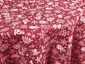 """20с-6ЯК Комп-кт Скатерть 150*120+ 4 салфетки """"Новогодние игрушки"""" цв. красный"""