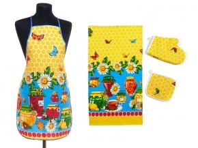 """Набор для кухни """"Варенье"""" желтый из 4-х предметов (фартук+рукавица+ прихватка+полотенце)"""