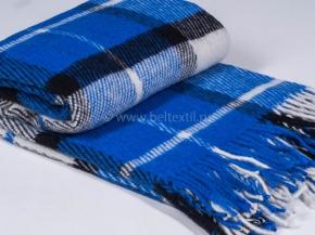Плед п/шерсть 140*200 40/15 цвет синий с черным