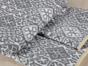 Одеяло байковое 140*205 жаккард цв. серый в канте  (Россия)