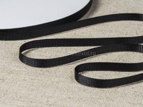 Лента репсовая шир.6мм, черный (рул.45м)