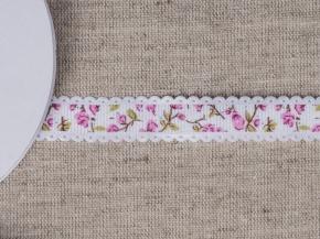 095000753 Лента декоративная шир.15мм, роз.цветы (уп.25ярдов/22,86м)