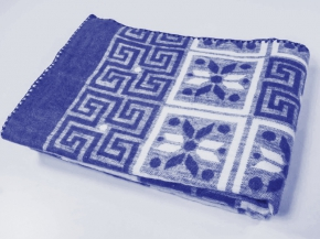 Одеяло п/шерсть 50% 170*205 жаккард  цв. синий