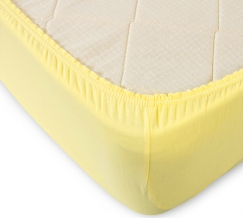 Простыня трикотажная на резинке 180*200*20 цвет  желтый