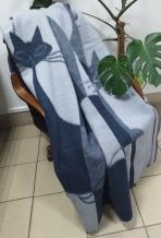 """Одеяло шерсть мериноса 100% 140*205 """"Кошки"""" цвет серый"""