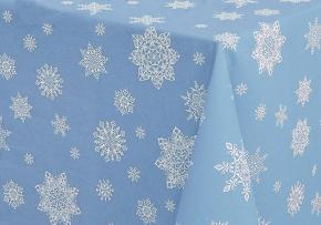 """3832-БЧ  Скатерть 145*180 рис. 4620-02 """"Снежинки"""" цв. голубой"""