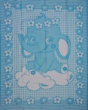 Одеяло хлопковое 100*140 ЛЮКС жаккард 14/4 цвет голубой