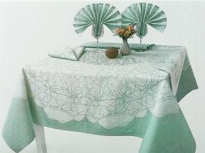 16с412-ШР/уп Комплект столовый  Вуаль  150х150 +6 салфеток 48*48 цвет 47 зеленый