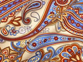 """Ткань бельевая арт 175448 п/лен набивной рис 4043/2 """"Огурцы"""" бежевый с голубым, ширина 150см"""