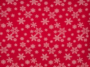 Ткань бельевая арт 175448 п/лен отб. набивной рис 10-16/1 Кружевные снежинки на красном, ширина 150см