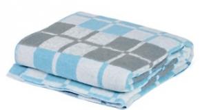 Одеяло хлопковое 140*205 клетка белый/св.серый/бирюза