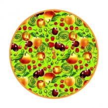 """Полотенце вафельное круглое """"Фрукты 3D"""" цвет зеленый"""
