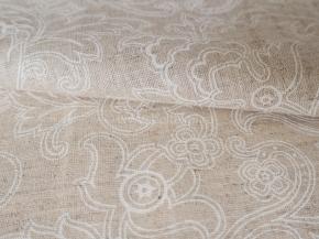 Полулен бельевой арт. 9-17 рис. 252 Узоры белые, ширина 150см