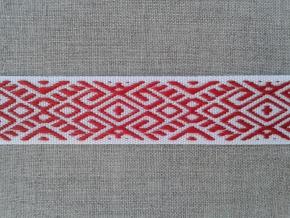 9482 ЛЕНТА ОТДЕЛОЧНАЯ ЖАККАРД белый с красным 22мм (рул.25м)