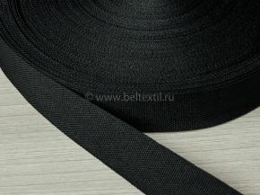 25мм. Стропа 25мм стандарт+ (пл.10,80гр/м) черный (рул.50м)