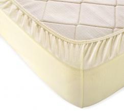Простыня трикотажная на резинке 140*200*20 цвет молочный