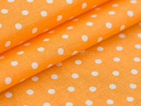Ткань бельевая арт 175448 п/лен отб. набивной рис 62-17/3 Горошек оранжевый, ширина 150см