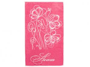 """13с22 полотенце махровое 50*90 """"Имена женские"""" цвет розовый"""