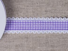 095000662 Лента декоративная шир.25мм, клетка фиолет/белый (уп.25ярдов/22,86м)