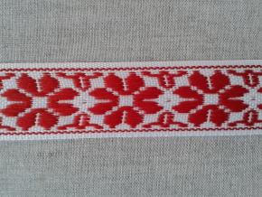 9324 ЛЕНТА ОТДЕЛОЧНАЯ белый с красным 27мм (рул.25м)