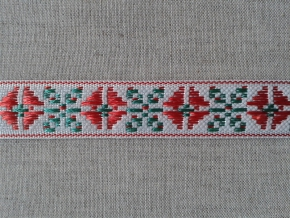 2С296-Г50 ЛЕНТА ОТДЕЛОЧНАЯ красный с зеленым на белом 20мм (рул.25м)