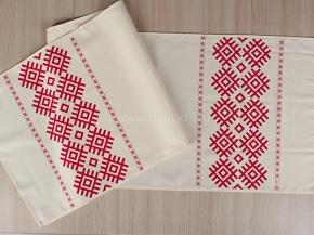 Ш17опс213-2 Скатерть 145*40 Белорусские мотивы цв. красный