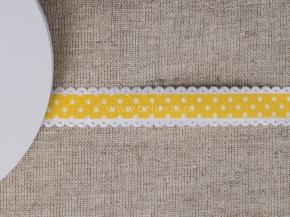 095000590 Лента декоративная шир.15мм, желтый/бел.горошек (уп.25ярдов/22,86м)