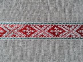 2С297-Г50 ЛЕНТА ОТДЕЛОЧНАЯ красный с зеленым на белом 20мм