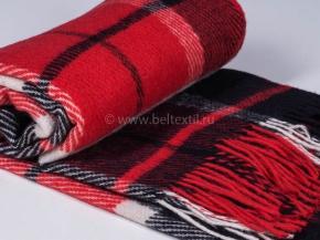 Плед 100% шерсть 170*200 31.10 красный с черным