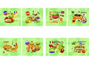 """Набор вафельных салфеток """"Кухни мира"""" зеленый 8 шт 30*33"""