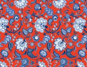 Ткань сувенирная рогожка набивная рисунок  Узор 561/4 терракотовый ширина 150 см