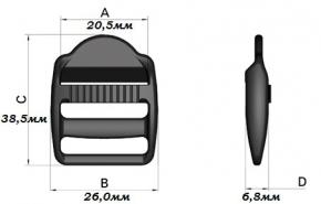 """Пряжка регулировочная LE 20мм """"Apri"""" 20мм, черный (уп.100шт.)"""