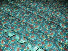Бязь наб. плательная рис. 4914-5 Огурцы бирюзовый на зеленом, ширина 150см