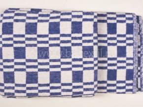 """Одеяло хлопковое 140*205 клетка """"Колосок"""" цвет синий"""