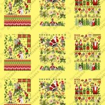 Вафельная -универсал В16 (0678/3) Новогодняя сказка желтый, ширина 150см
