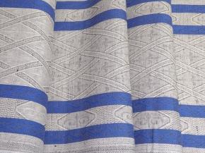 """Холст арт. 21-16 """"Ромбы"""" синий на сером, ширина 50см"""