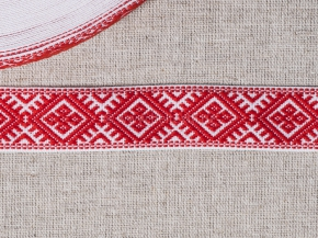 9904 ЛЕНТА ОТДЕЛОЧНАЯ ЖАККАРД белый с красным 25мм (рул.50м)
