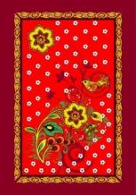 """Полотенце рогожка 45*60 """"Хохлома"""" цвет красный"""