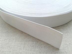 Резинка вязаная 30мм, белая (рул.50м)
