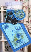 """Набор для кухни из 4-х предметов """"Хохлома"""" синий (фартук +рукавица+прихватка+полотенце)"""
