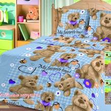 Бязь -универсал П13 набивная рис. 0756/1 Любимые игрушки на голубом, ширина 150см