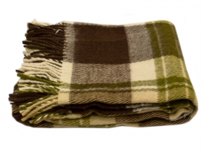 Плед п/шерсть 140*200 40/1 цвет коричневый с зеленым