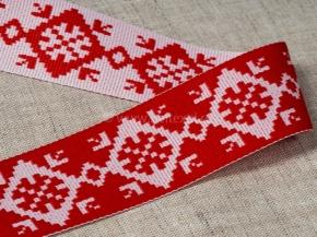 90237 ЛЕНТА ОТДЕЛОЧНАЯ ЖАККАРДОВАЯ белый с красным (символ богатства) 32мм (рул.25м)