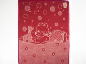 Одеяло п/шерсть 72% 100*140 жаккард цв. красный