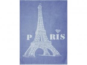 Плед хлопковый 170*200 жаккард  Париж цв 5 синий
